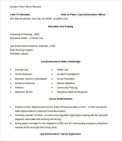 Police Officer Resume   Free Word Documents Download  Free