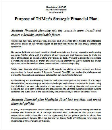 financial strategic plan template