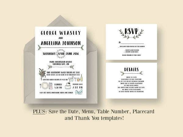 fun wedding invitation suite
