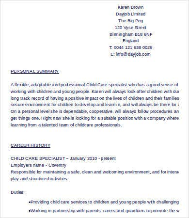 Example Child Care Resume Template in Word
