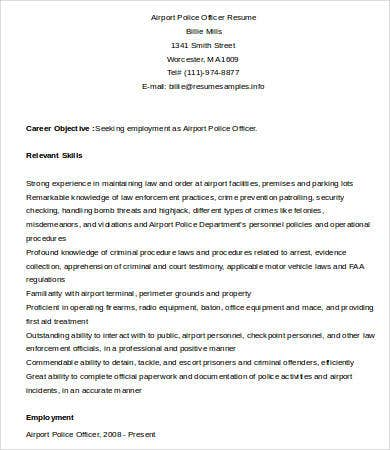airport police officer resume