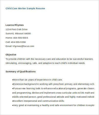Sample Child Care Resume | Sample Resume And Free Resume Templates