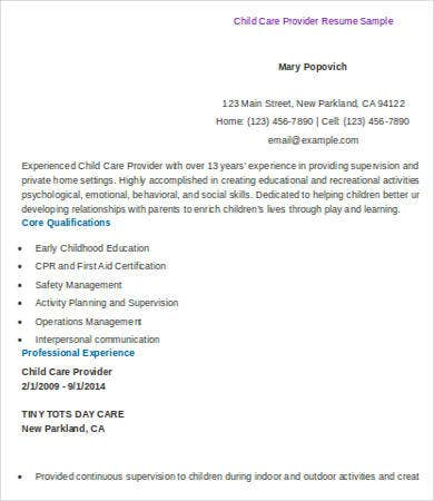 Child Care Provider Resume Examples Throughout