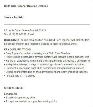Child Care Resume - 6+ Free Word, Pdf Documents Download | Free