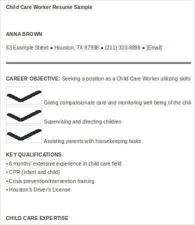resume for child caregiver