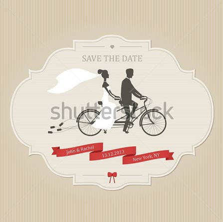 funny wedding card invitation with bicycle