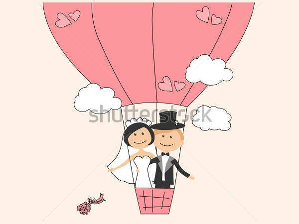 funny wedding invitation with air balloon