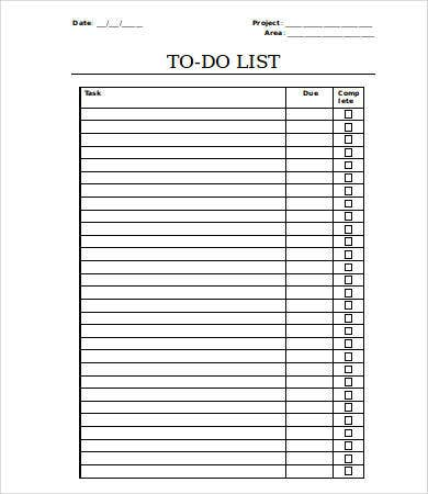 Things To Do List Template  Template