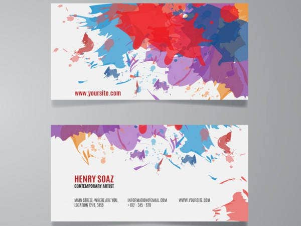 Free Splash Paint Fitness Trainer Business Cards