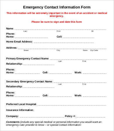 Emergency Contact Form Template - Ex
