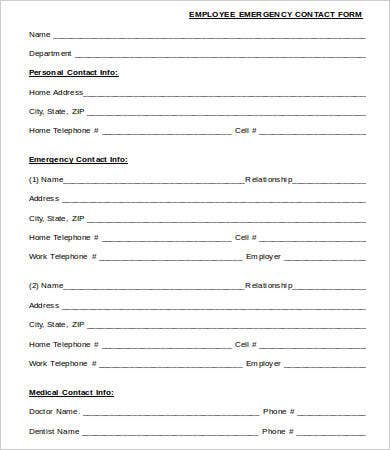 Emergency Contact Form   Free Word Pdf Documents Downlaod
