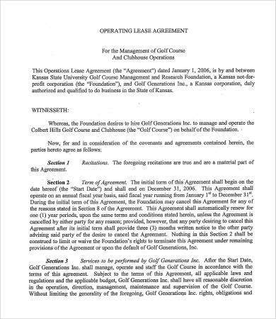 sample operating lease agreement