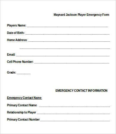 Player Emergency Contact Form  Contact Information Template