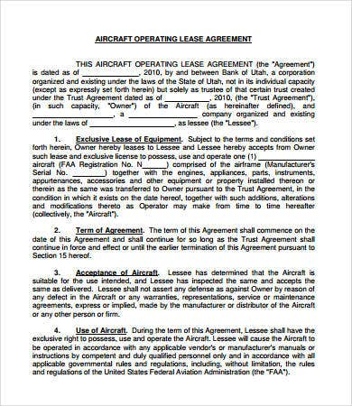 aircraft operating agreement sample