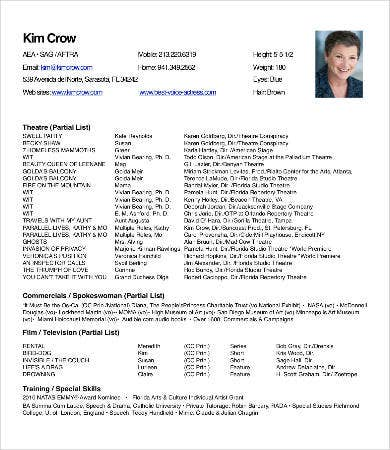 actor theater resume - Theatre Resume