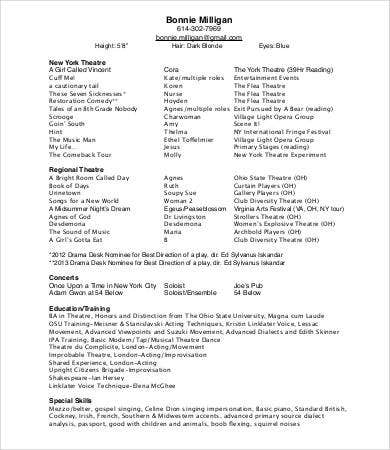 basic theatre resume
