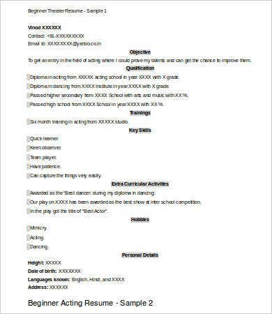 beginner theatre resume