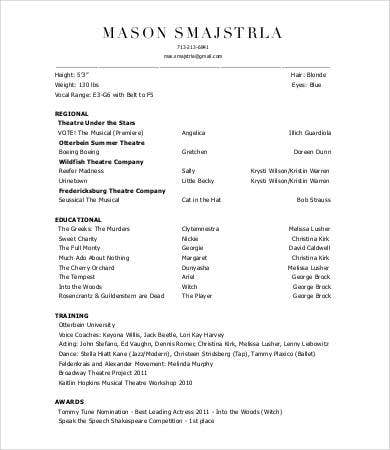 professional theatre resume