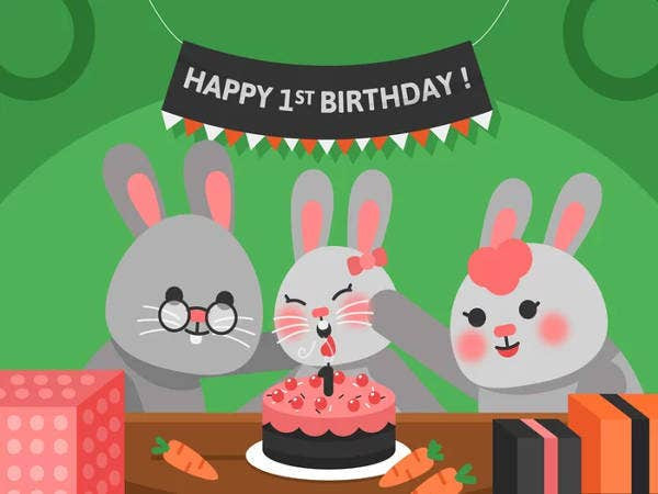 Free Animated 1st Birthday Card