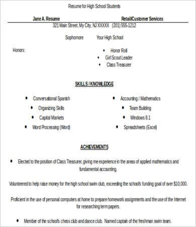 high school resume 6 free word pdf documents download free
