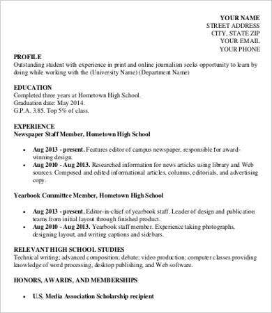 Free High School Student Resume for College Template