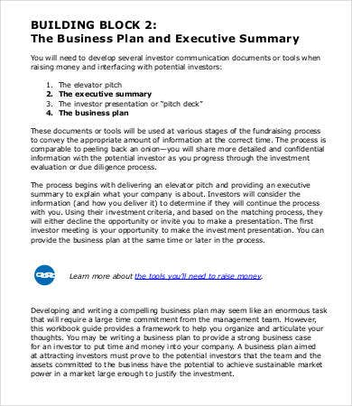 Business Plan Executive Summary Sample  It Executive Summary Template