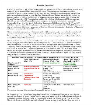 One Page Executive Summary Sample
