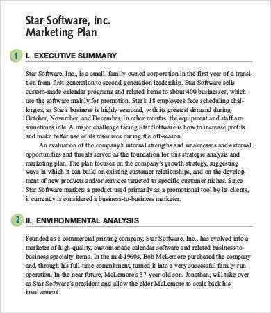Marketing Plan Executive Summary Sample