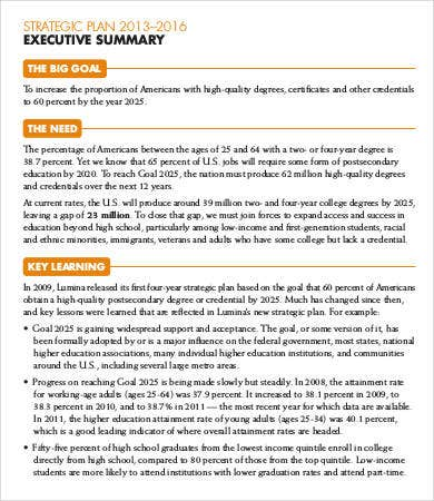 Strategic Plan Executive Summary Sample