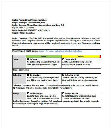 status report project management template