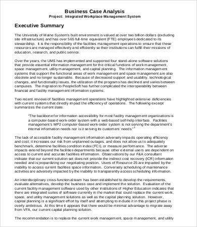 Executive Summary Business Case Sample