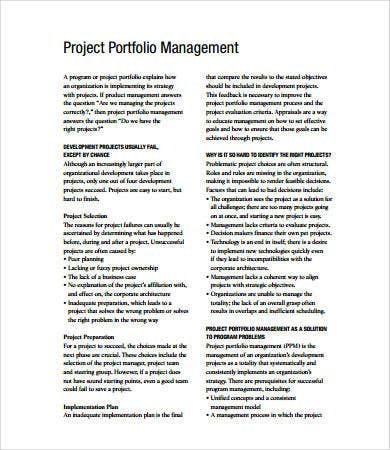 project portfolio management templates