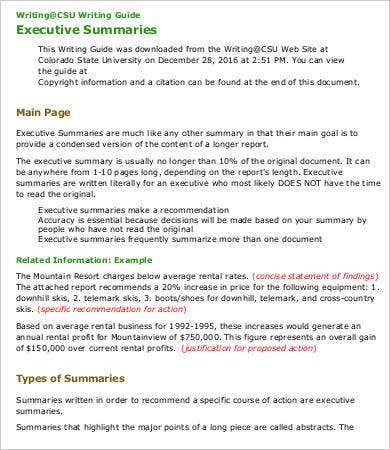 Executive Summary Format Sample