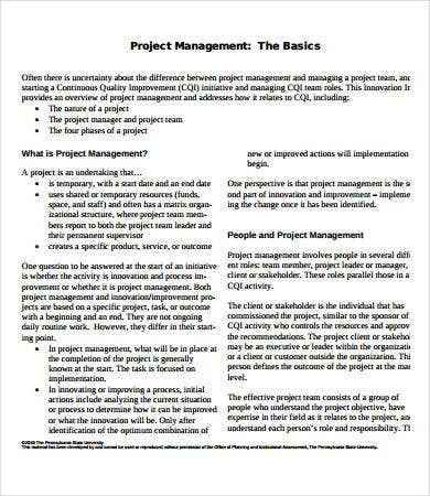 basic project management template