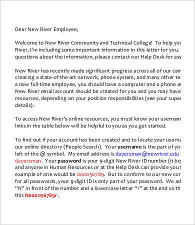 New Employee Welcome Letter From Community