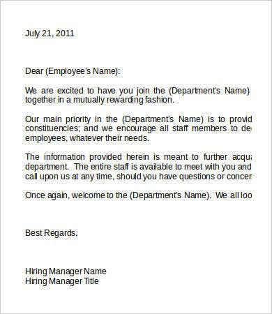 employee welcome binder letter