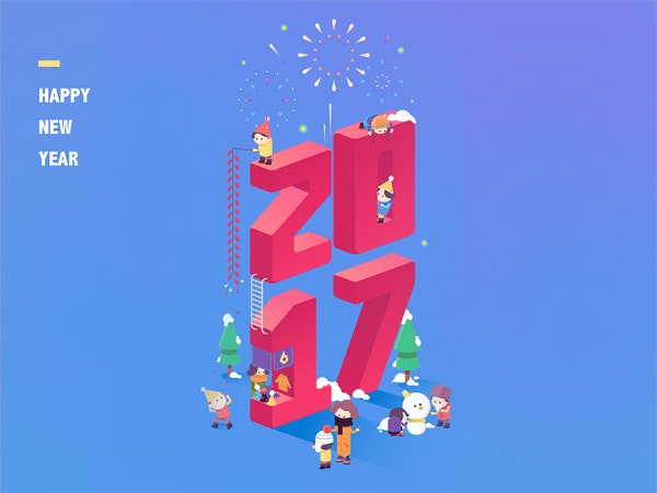 funny cute new year background