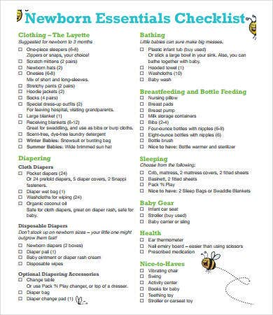 New Baby Checklist - 8+ Free PDF Documents Download | Free ...