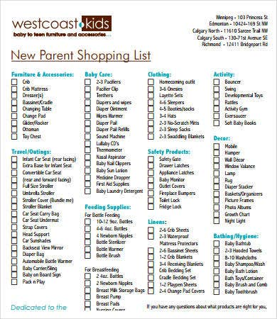 image relating to Baby Checklist Printable named Contemporary Child List - 9+ Free of charge PDF Information Obtain Totally free