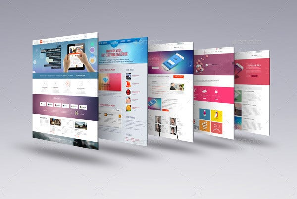 Horizontal Web Page Mock-Up Bundle