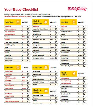 new baby checklist 8 free pdf documents download free