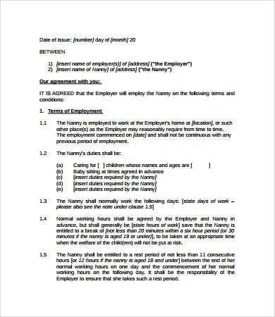 Nanny Contract   Free Pdf Word Documents Download  Free