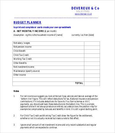 printable home budget planner