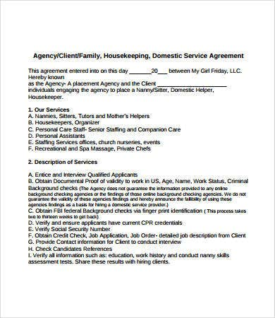 nanny housekeeper contract template