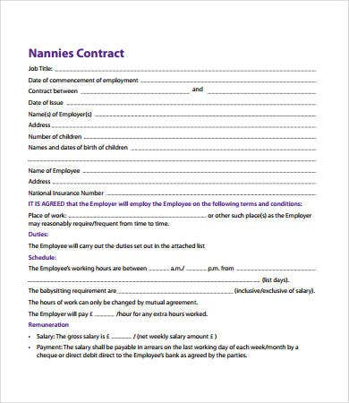 Nanny Contract - 7+ Free Pdf, Word Documents Download | Free