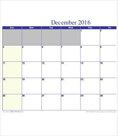 Free Printable Calendar Template - 9+ Free Pdf Documents Download