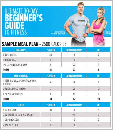fitness meal plan template