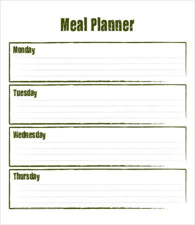 blank meal plan template