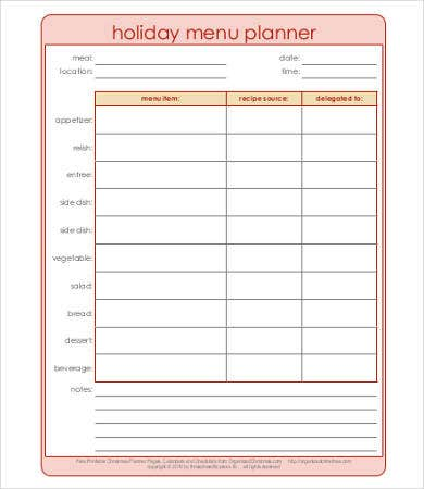 holiday meal planning template