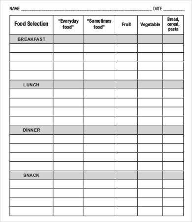dinner meal plan template